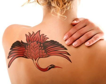 crane tattoo on back