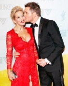 Michael Buble's wife looks gorgeous in this dress!!  AND SHE IS PREGO...LOVE IT!