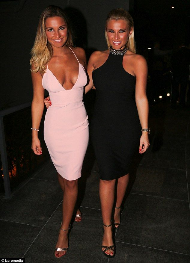 Sam Faiers - House of CB Loren bodycon dress in blush.. Billie Faiers - Nicole x Missguided chain neck body con dress..