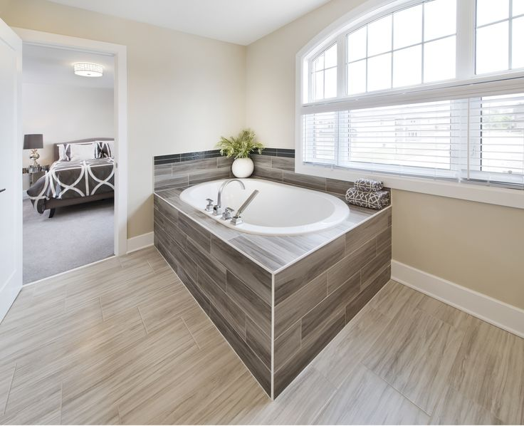 This is the ensuite bathroom in the Lakefield model home at Tartan's Havencrest community in Barrhaven.