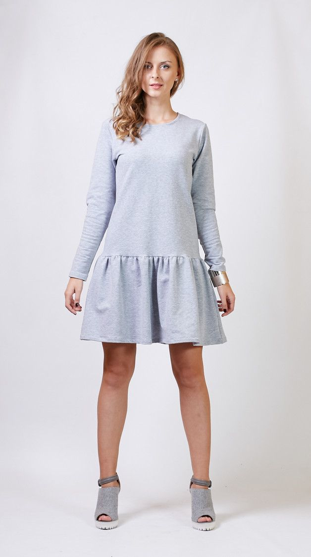 Graues Sweatshirt-Kleid mit ausgestelltem Rock/ cosy sweatshirt dress in grey made by zygzak_ via DaWanda.com