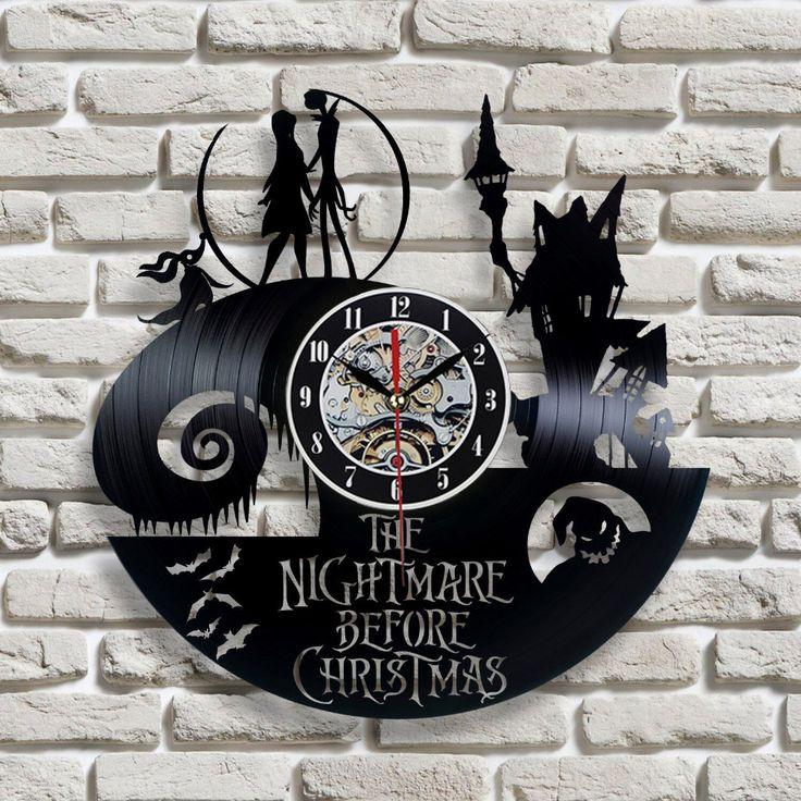 2016 New Vinyl Record Wall Clock Nightmare Before Christmas Jack and Sally Classic Clocks Quartz Mechanism Horloge Reloj-in Wall Clocks from Home & Garden on Aliexpress.com   Alibaba Group