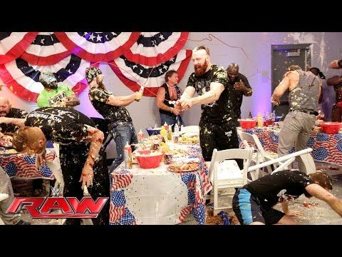A food fight erupts during WWE's pre-Raw Fourth of July barbecue: Raw, July 4, 2016 - YouTube