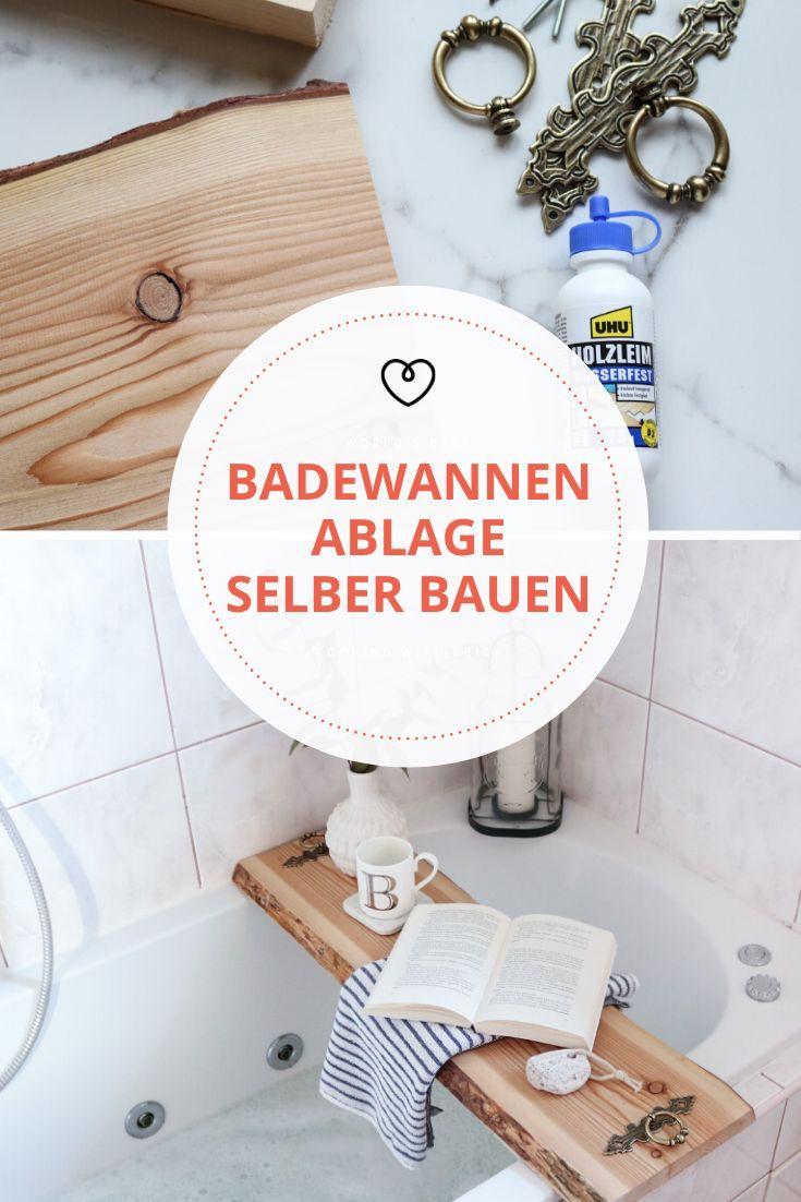 Diy Badewannenablage Aus Holz Selber Machen In 2020 Badewanne Ablage Ablage Badewanne Holz