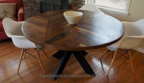 Chevron Dining Room Table with X Base  Check It Out Now     $999.00    Hello and thank you for looking! This handmade tabletop is made of walnut wood, the table pictured is 60″ in diamete ..  http://www.handmadeaccessories.top/2017/03/15/chevron-dining-room-table-with-x-base/