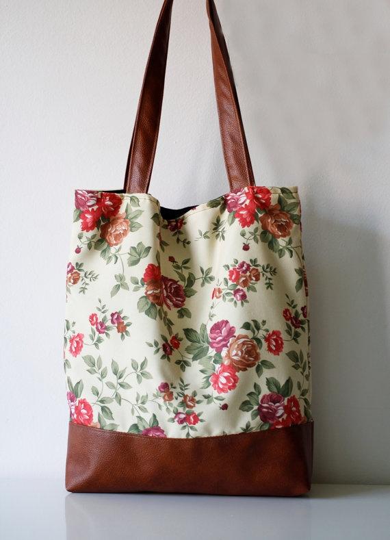 Floral Tote bag Beach bag Shoppers bag  Waterproof by byMART, $47.00