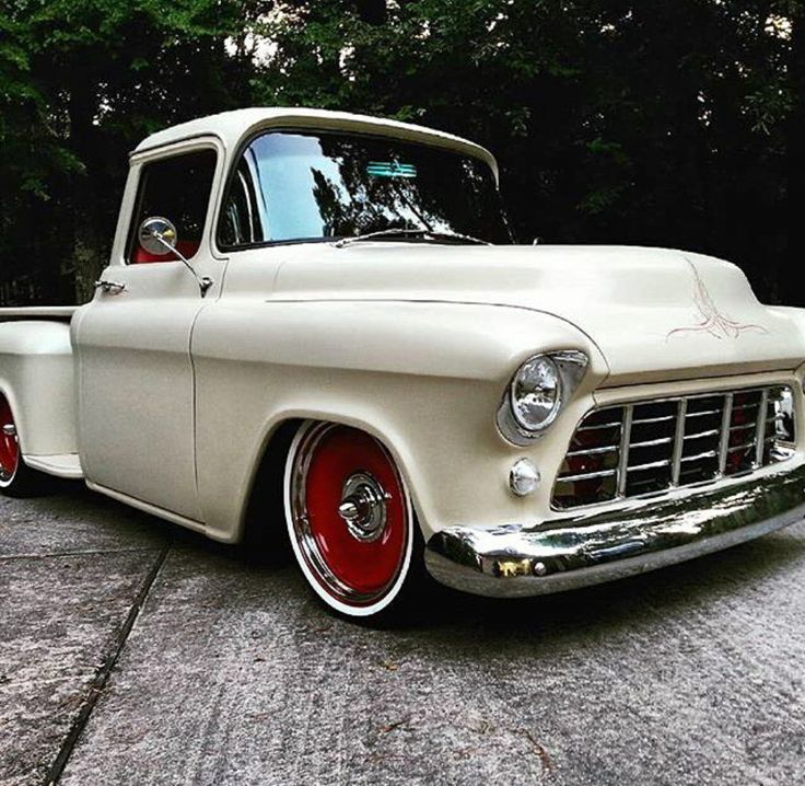 1955-56 Chevy truck with Detroit steel wheels