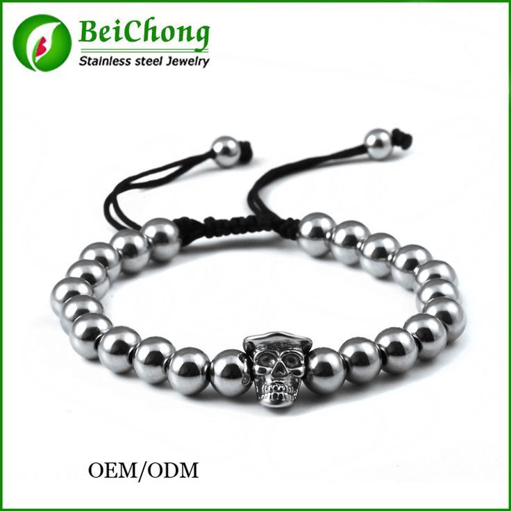 Fashion Jewelry Vintage Look Stainless Steel Plated Handmade Rope Woven Gentleman Skull Bead Bracelet BC-0070