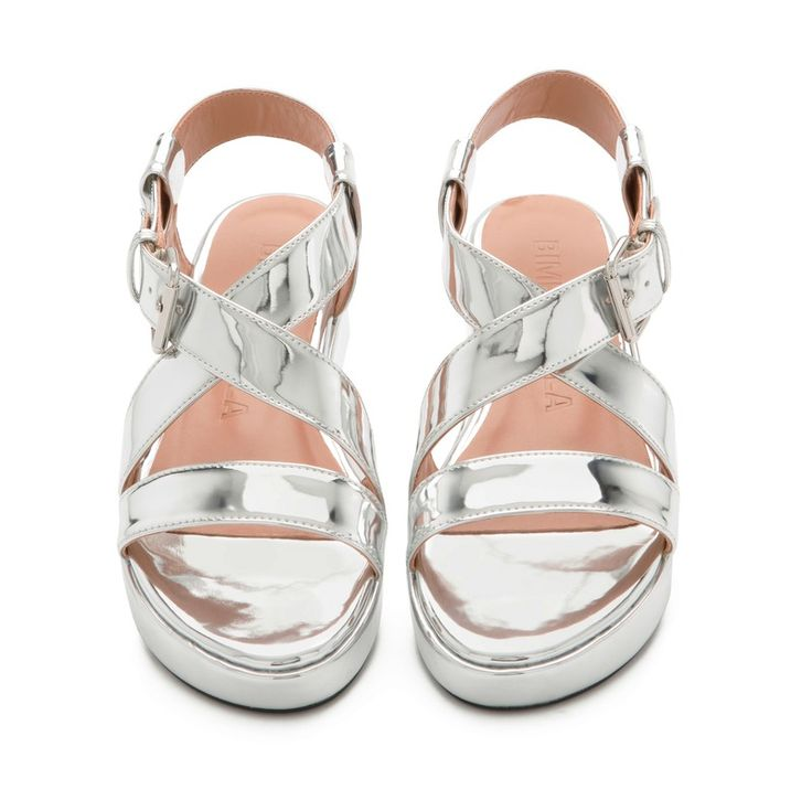 Bimba y Lola PLATFORM SANDALS Mirrored sandals SILVER