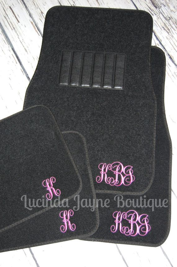 Monogrammed Black Car Floor Mats by lucindajayneboutique on Etsy