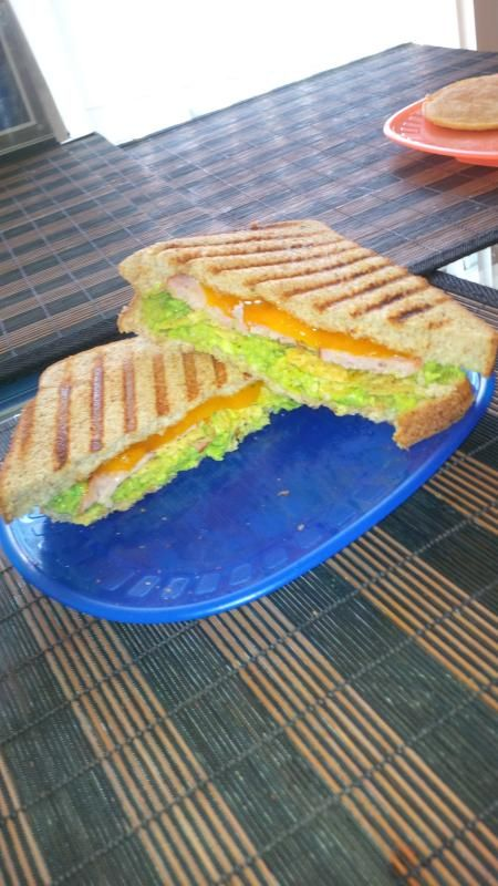 Homemade Guacamole salsa in a toasted grilled cheese with grilled ...