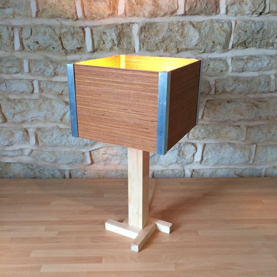 Wooden Desk Table Bedside Lamp Shade Simplistic Art Deco 50s 60s Unique Artistic Switch