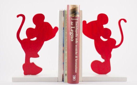 Fermalibri in legno Topolino/Topolina Rosso (coppia) - Wood Bookends Mickey Mouse/Minnie Red (couple)
