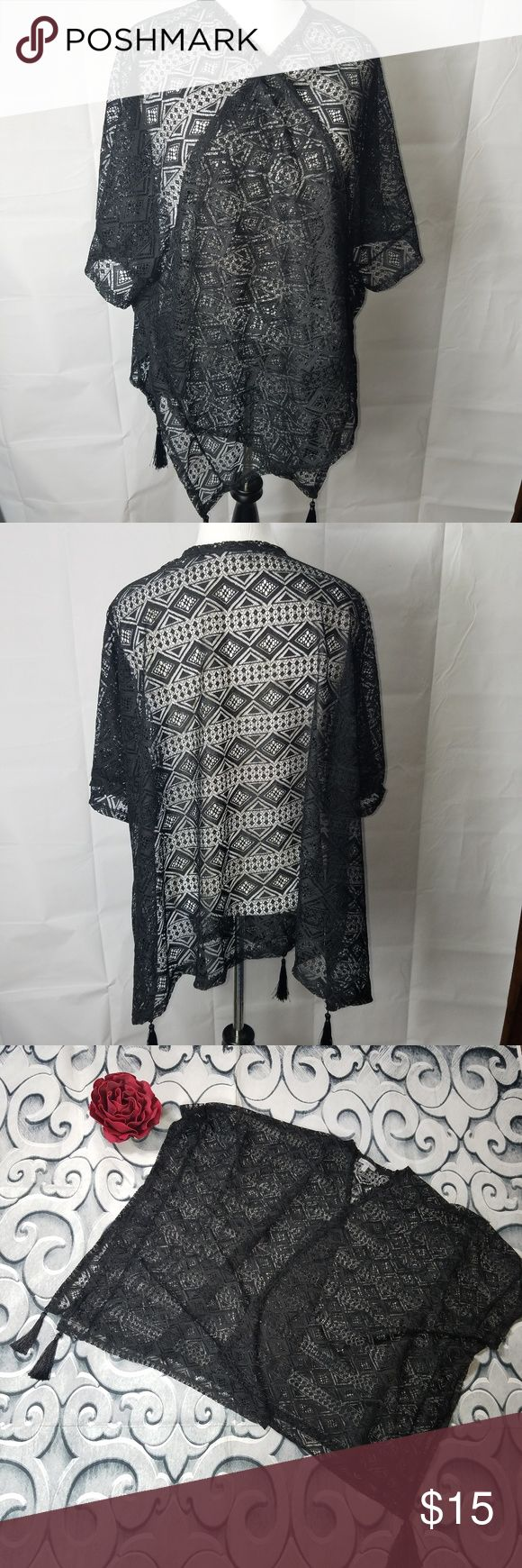 Black Oversized Lace Shawl with Tassels Charlotte Ruse Black Oversized Lace Shawl with Tassels Size Large  Flower not included Charlotte Russe Tops