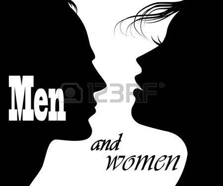silueta hombre mujer: el hombre y la mujer se enfrenta a los perfiles Vectores