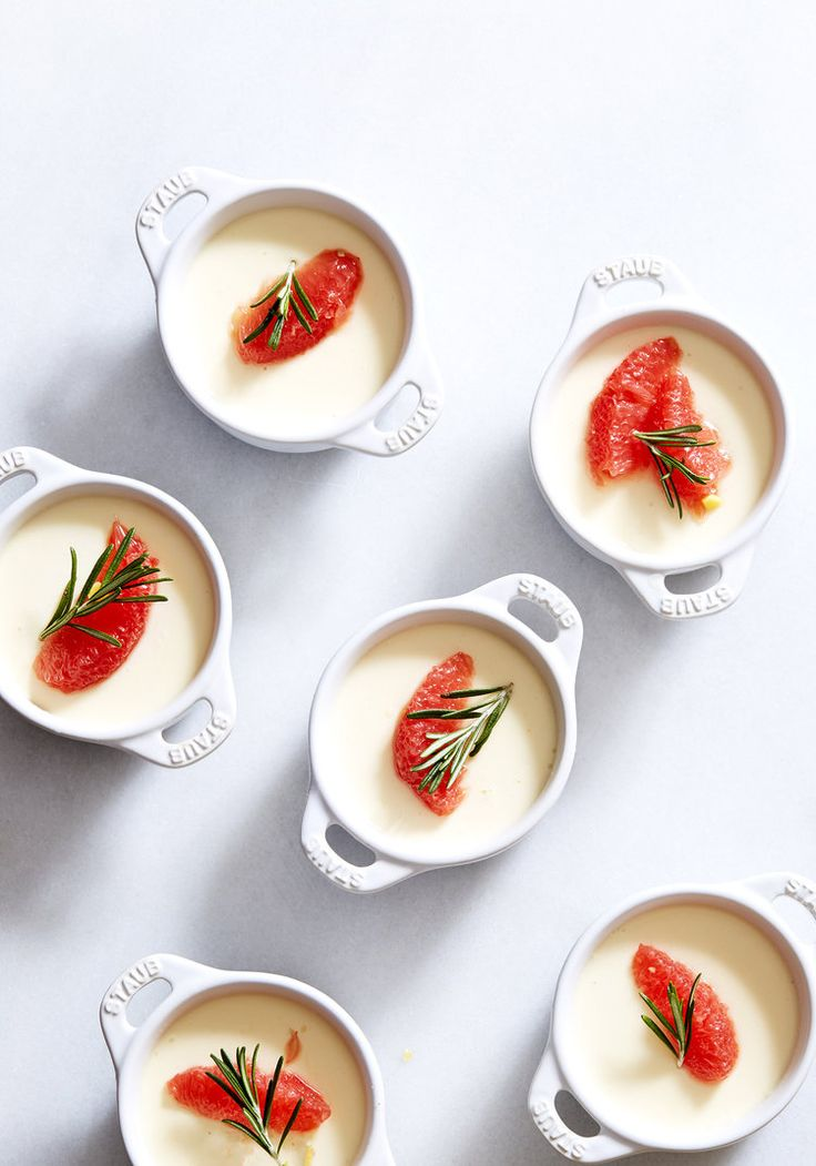 Creme Fraiche Panna Cotta with Ginger-Rosemary Poached Grapefruit - Sassy Kitchen