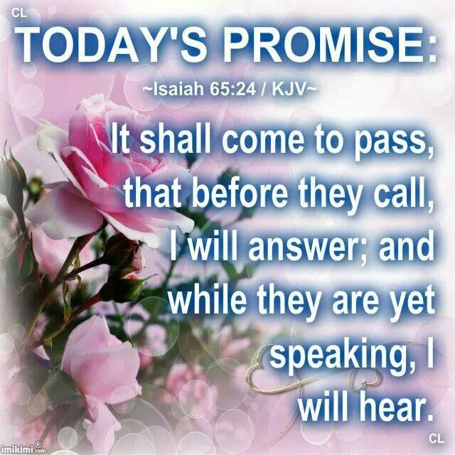 ~Isaiah 65:24 / KJV~ And it shall come to pass, that before they call, I will answer; and while they are yet speaking, I will hear.
