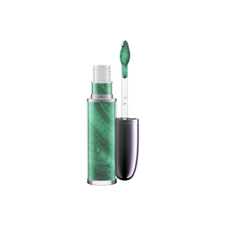 Grand Illusion Glossy Liquid Lipcolour in Peace, Love, Unity, Respect, a green with iridescent pearl. Swipe on futuristic sheen with this exclusive holographic lip colour packed with iridescent pearls, then be transfixed by the refreshing cooling sensation that makes lips feel instantly fuller.