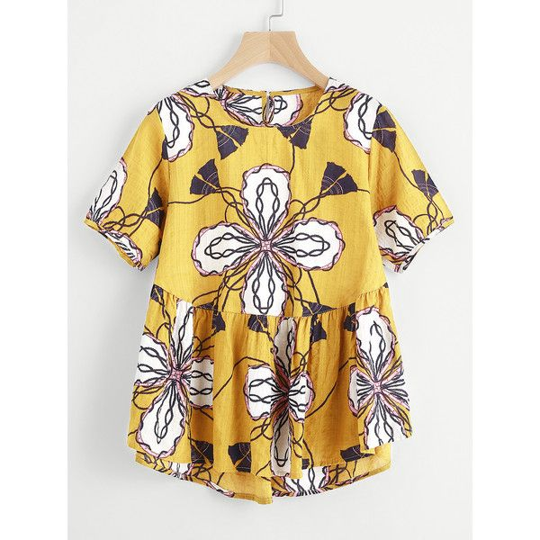 SheIn(sheinside) All Over Graphic Print Smock Blouse ($11) ❤ liked on Polyvore featuring tops, blouses, yellow, short sleeve tops, short sleeve blouse, ruffle sleeve top, floral tops and floral print blouse