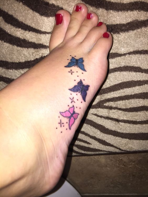 Awesome Butterfly Foot Tattoo For Girls