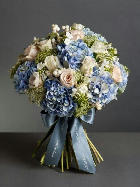 Bouquet Of Blue Hydrangea Ivory Roses Cream Blush Roses