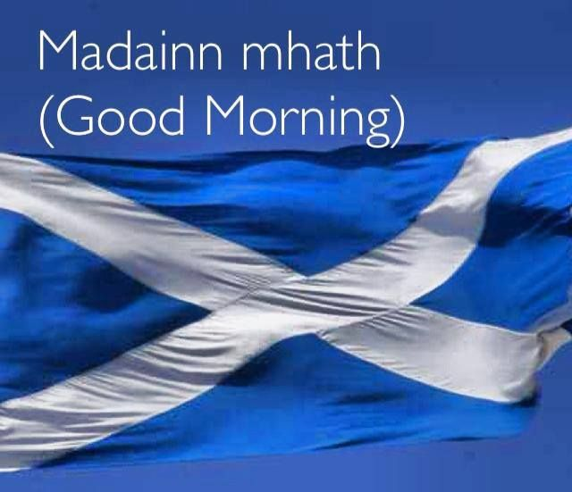 Madainn mhath means good morning in Scottish Gaelic.  Sam heughan says it on the NYCC video with Catriona.