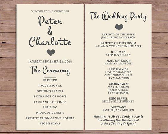 Wedding Program Order Of Service By DarlingPaperCompany On