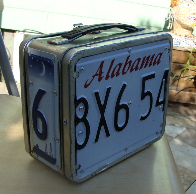license plate lunch box