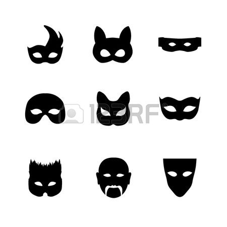 Festive carnival mask icons. Isolated vector set of silhouette black disguises for masquerade costumes on white. Halloween monsters mask illustration. Stock Photo - 46667207