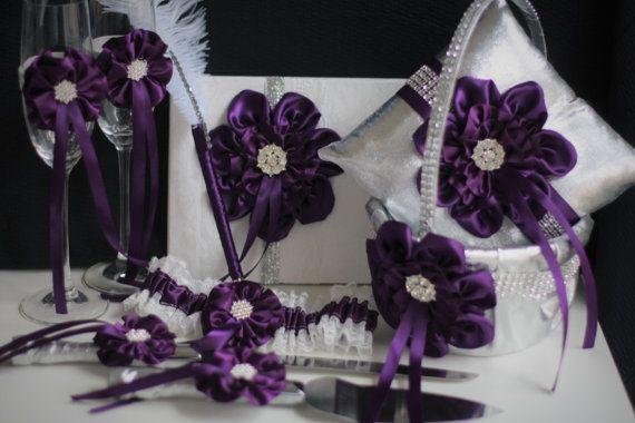 Silver Plum Wedding Accessories \ Plum Wedding Basket \ Plum Wedding Pillow \ Plum Champagne glasses \ Plum Cake Server, Plum Guest Book Pen