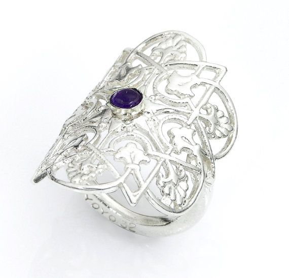 Women's Delicate Flower Ring Made in Silver with Synthetic Stone - Kabbalah Inspired - Handmade per Order