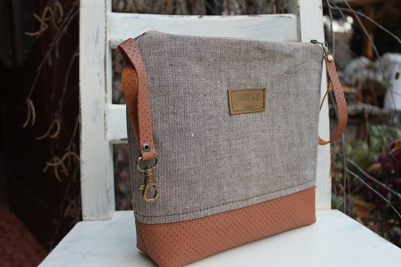 Men zipperGift for him  toiletry bagBrown fabric leather by BYildi