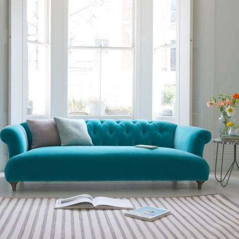 British made Dixie sofa in Bahama plush velvet is a modern and comfy chesterfield sofa