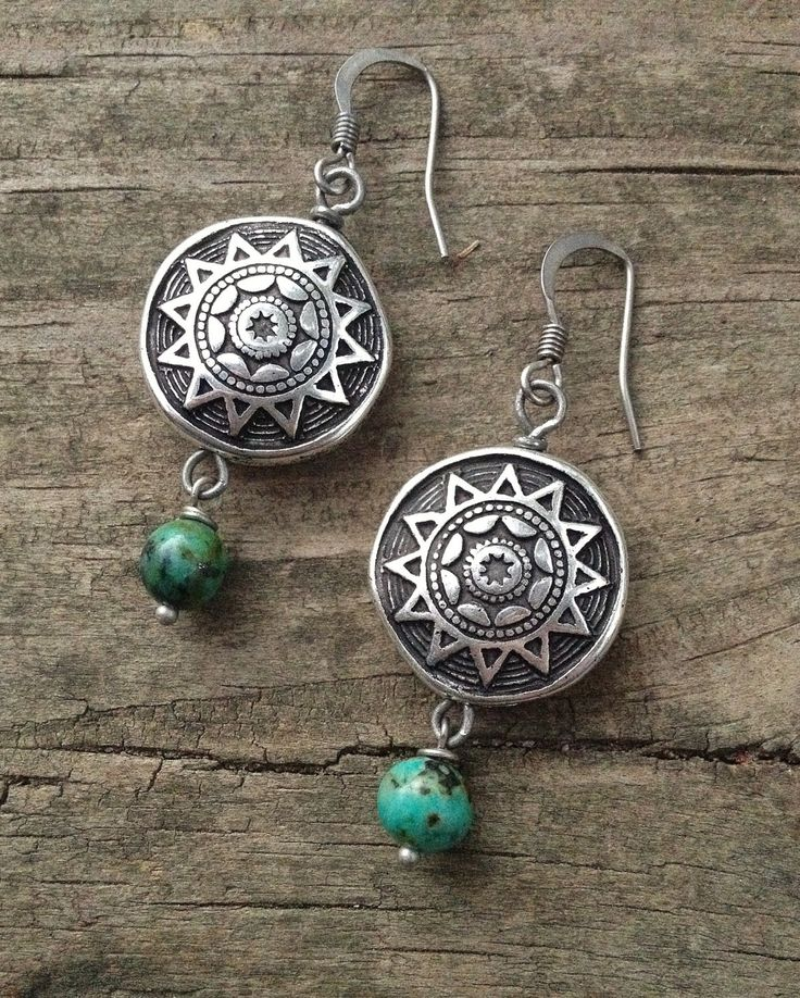 Turquoise Earrings, Turquoise Jewelry, Southwestern Silver and Turquoise Earrings