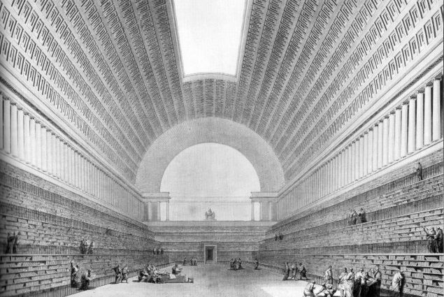 INTERIOR OF A LIBRARY, ETIENNE BOULLEE, 1785 Boullée's grandiose and visionary neoclassicism, although rarely built, lives on in his hugely influential drawings