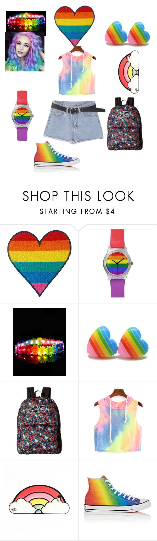 """#pride what pride means to me is letting others know that we are equal and that nothing should matter who we love as long as we are loved."" by music4life12 on Polyvore featuring May28th, Hippy Headbandz, Vans, Converse and pride"