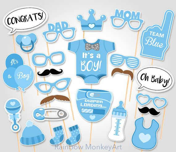 Baby Shower Photo Booth Props  Printable Photo by RainbowMonkeyArt