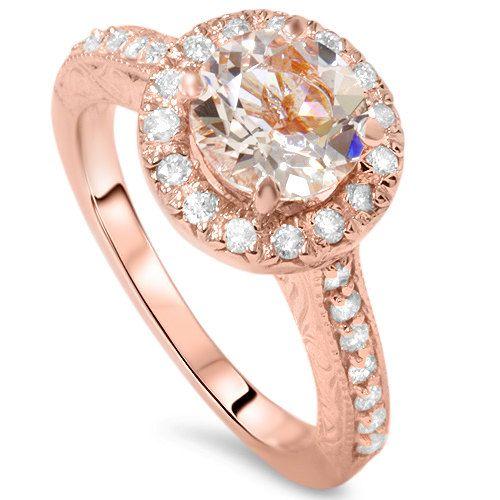 2.20CT Morganite & Diamond Engagement Ring 14K Rose by Pompeii3, $699.99