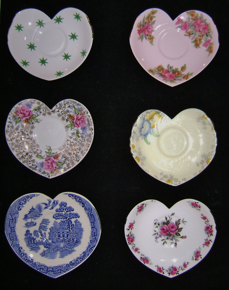 Wall hearts made from vintage china.