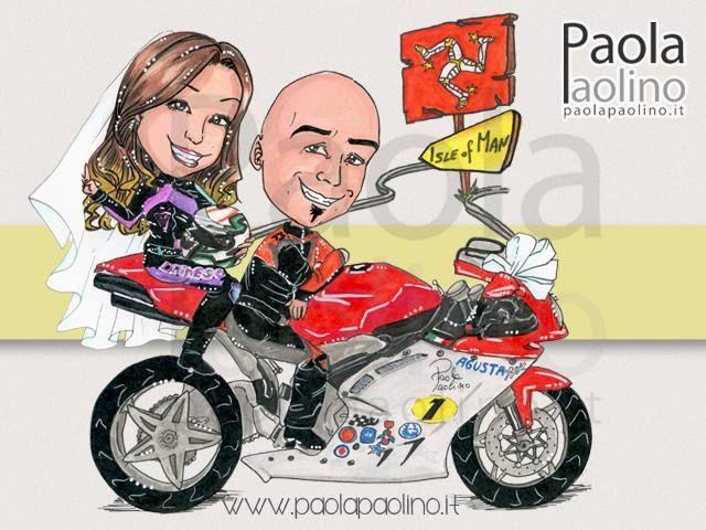 Caricatura coppia di sposi su moto verso l'isola di Smeraldo, l'Irlanda!  #caricatura #caricaturista