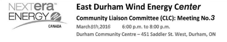 Community Liaison Meeting is approaching on Tuesday, March 8th, 6-8 pm at the Durham Community Centre. We need a lot of people to come out in a show of support.  These wind turbines have obnoxious blinking lights and it is up to all of us to come out and see what they have to say about fixing it.  Also, those of us living in close proximity to the towers are finding the noise levels akin to living next to an airport