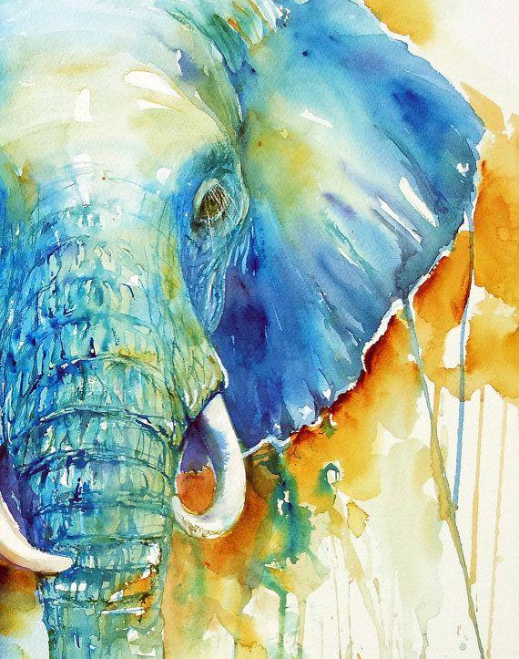 Olifant originele aquarel dierlijke kunst aan de muur door artiart