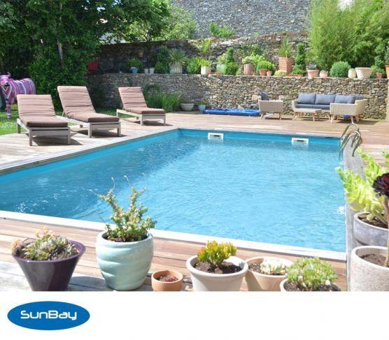 17 meilleures id es propos de piscine bois enterr e sur pinterest piscine - Piscine demi enterree ...