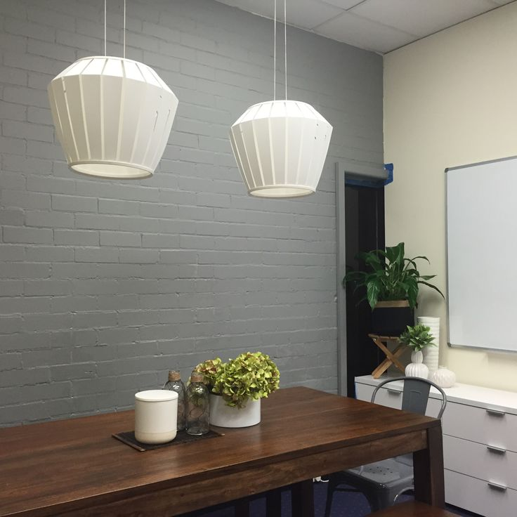 Office Space Industrial Chic was the brief. Ikea lights.