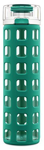 Ello Syndicate 20Ounce BPAFree Glass Water Bottle with Flip Lid Teal ** View the item in details by clicking the image