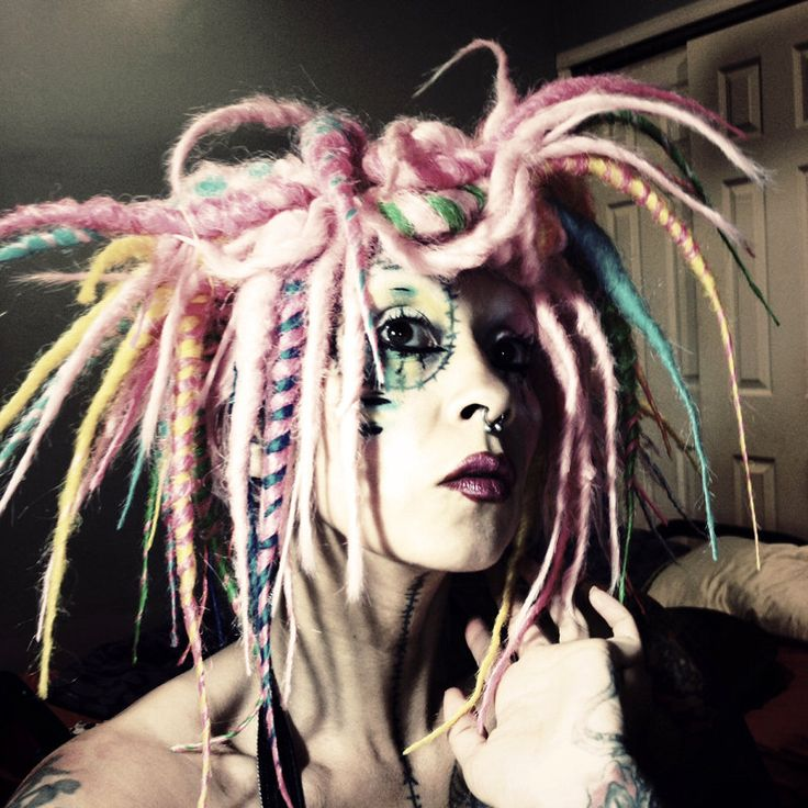 Ombre Party Wig, Cyber Goth Hair, Dreadlock Wig, colorful dread locks, Gothic Lolita Hair, Tribal Belly Dance Hair, Crude Things by CrudeThings on Etsy https://www.etsy.com/ca/listing/206524997/ombre-party-wig-cyber-goth-hair