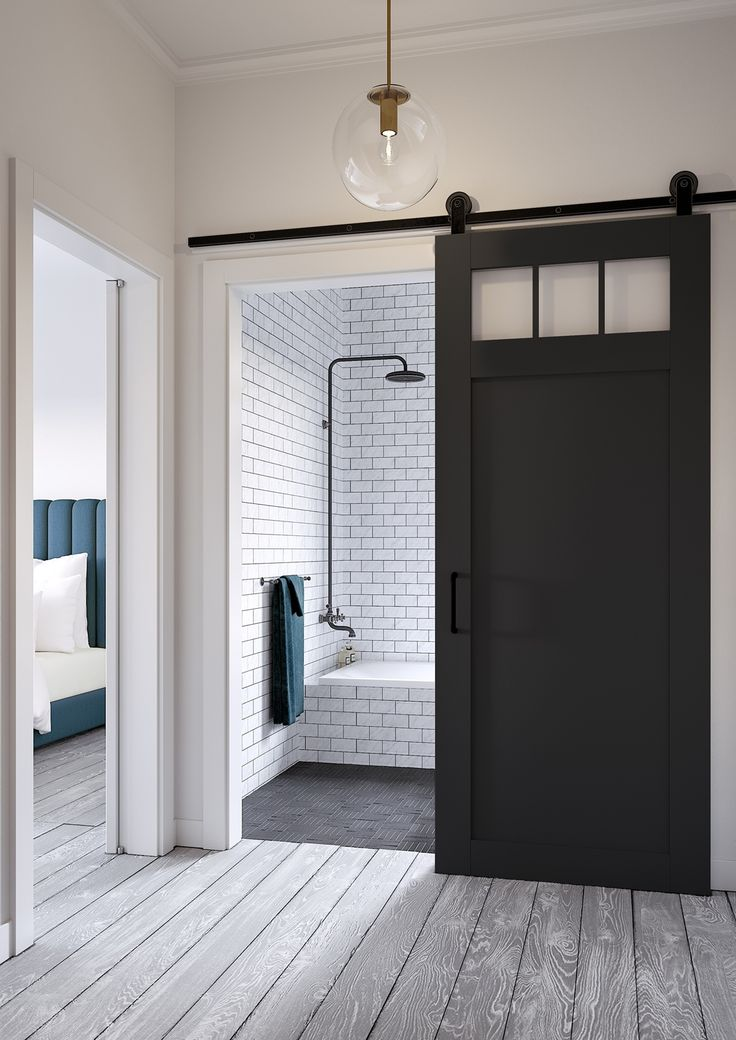 Possible door style for master bath. Jeff Lewis Design: Craftsman-style barn door. More