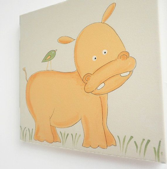 Kids wall art A baby hippo with a bird canvas painting by Shellyka