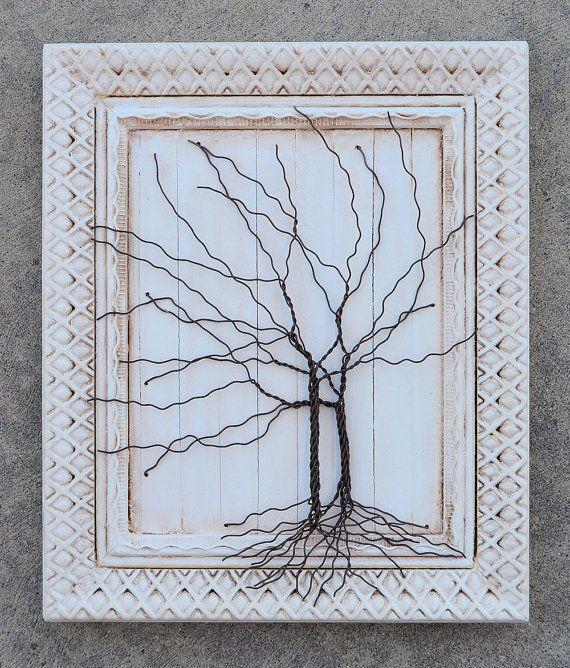 Framed tree wall art / wire sculpture Unique Art Decor Tree