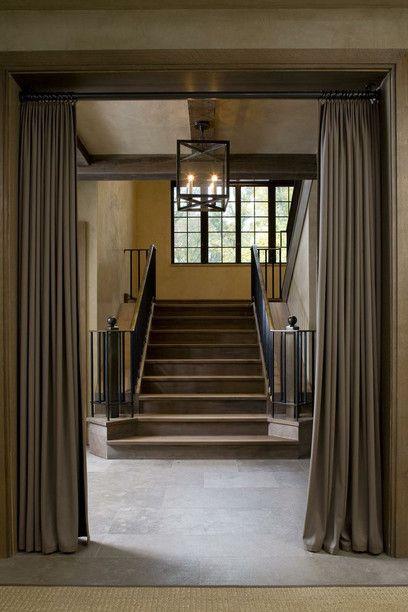 Doorless Entrance. Glenn Gissler Design Foyer, Portiere Curtains, Hanging Curtains, Loft Interior
